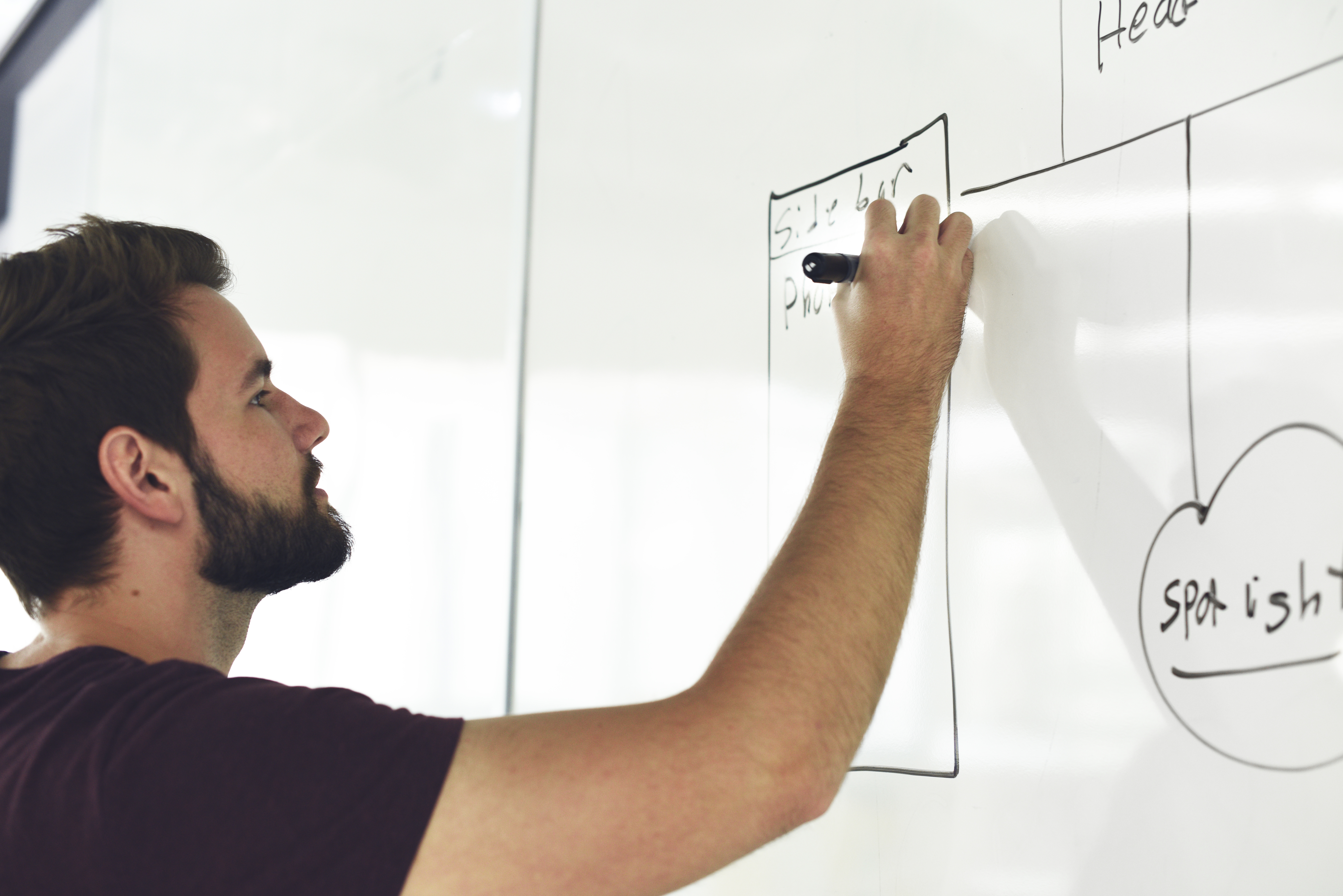 Startup Business People Writing on White Board Sharing Planning